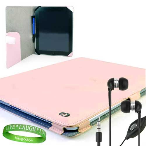 Melrose Pink Leather Case - Melrose Apple Ipad Leather Case Pink Cover Accessories Kit Includes ? Baby Pink Melrose iPad Leather Cover + iPad Earphones with Mic + Live Laugh Love Silicone Wrist Band!!!