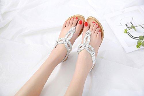 Rhinestone Femmes des de D'été de Sandales Bascule Ruiren pour Dames de Plage Chaussures Argent Plates de fnRtWqU