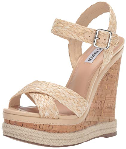 Steve Madden Women's Maven Wedge Sandal, Natural Raffia, 9.5 M US