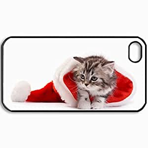 Customized Cellphone Case Back Cover For iPhone 4 4S, Protective Hardshell Case Personalized Christmas New Year Cat Santa Hat Black