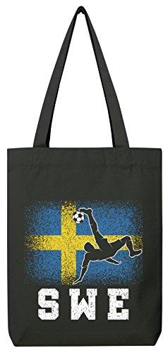 Schweden Sverige Fußball WM Fanfest Gruppen Premium Bio Baumwoll Tote Bag Jutebeutel Stanley Stella Sweden Football Player Black
