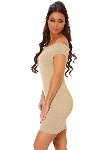 dmarkevous - Robe de soirée beige pailletée moulante style bandage épaules dénudées coupe bardot - S-M, beige