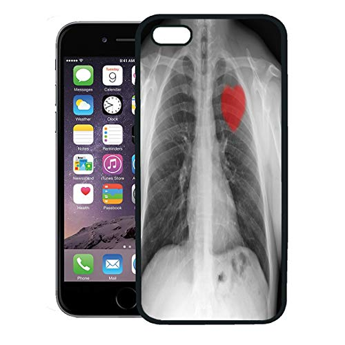 Semtomn Phone Case for iPhone 8 Plus case,Body Red Heart on X Ray Chest Bones Broken Bronchi Cancer Condition iPhone 7 Plus case Cover,Black]()