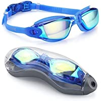 Goggles de Natación Charlemain Ajustable gafas de natación Protección UV y Recubrimiento anti niebla Lente, Silicona Sin fugas Gafas de natación Ajuste cómodo para hombres Mujeres, Adultos, Niños de la Juventud, Niño