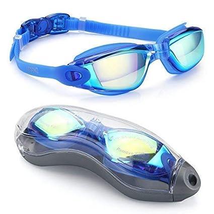 86072e7593 Goggles de Natación Charlemain Ajustable gafas de natación Protección UV y  Recubrimiento anti niebla Lente,
