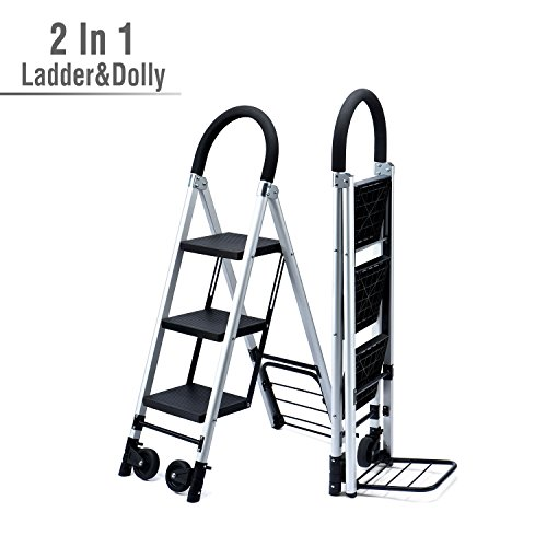 Convertible Step Stool - Delxo 2 in 1 Convertible 3 Step Ladder and Flodable Hand Truck with Soft Handgrip Anti-Slip Widen Pedals Multi-Use for Home Office Photographers Ladder 264lbs Space Saving 3-Feet
