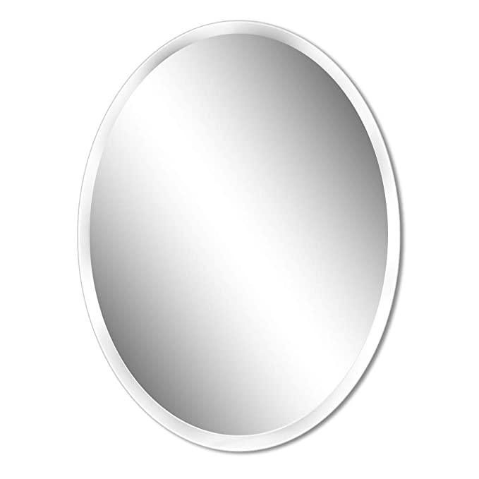 Beauty4U Small Oval Frameless Mirrors - 19.7 x 27.6 inch Beveled Elliptical Wall Mirror HD Vanity Make Up Mirror Tiles for Wall Décor
