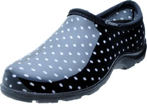 Sloggers 5113BP09 Rain and Garden Shoe with All Day Comfort Insole, Wo's Size 9, Black/White Polka Dot Print