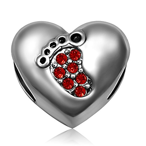 JMQJewelry Heart Love Baby Footprints July Red Christmas Gifts Birthstone Crystal Charms for Bracelets July Birthstone Heart Charm