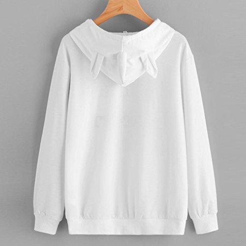 Sudadera Camiseta de SHOBDW impresión suéter Blanco Capucha Unicornio 7650 Mujeres Tops Larga con de Manga wPqqpHRB0
