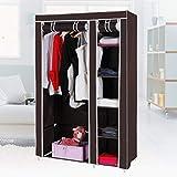 Styleys Portable Clothes Closet Home Wardrobe Clothes Storage Organizer Fabric Folding Wardrobe Cabinet (Brown)