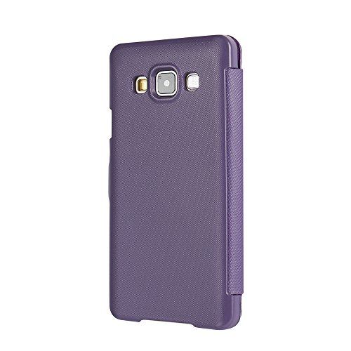 Funda Samsung Galaxy S5, MTRONX Cover Carcasa Case Caso Ventana Vista Ultra Folio Flip Twill Tela Asargada PU Cuero Delgado Piel con Cierre Magnetico para Samsung Galaxy S5 - Azul(MG1-BU) Morado
