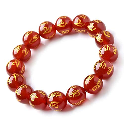 FAIRY ELVEN Lucky Lucky red Agate six Words Rumors Single Circle Couple Bracelets Crystal Jewelry