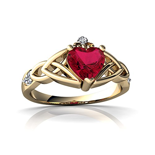 (14kt Yellow Gold Lab Ruby and Diamond 6mm Heart Claddagh Trinity Knot Ring - Size 7)