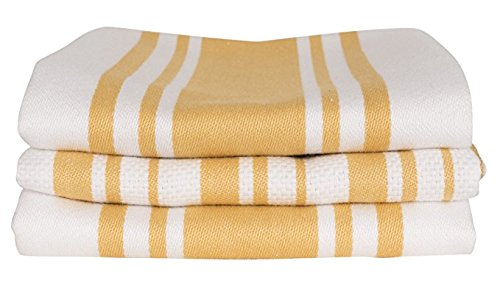 KAF Home Centerband/Basketweave/Windowpane - Set of 3 Kitchen towel (Honey)