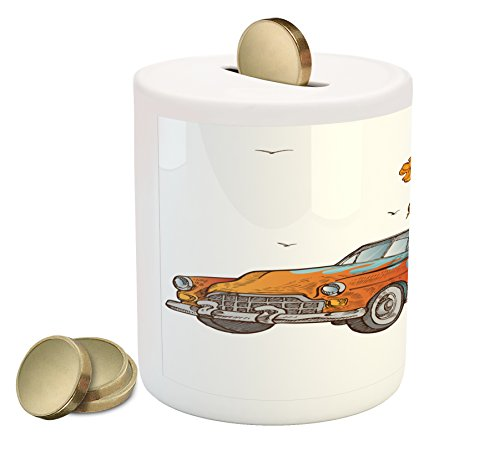 Lunarable Vintage Hawaii Piggy Bank, Old School Car with Surfboards on Its Truck Freedom Sixties Inspired Image, Printed Ceramic Coin Bank Money Box for Cash Saving, Multicolor Old School Pool