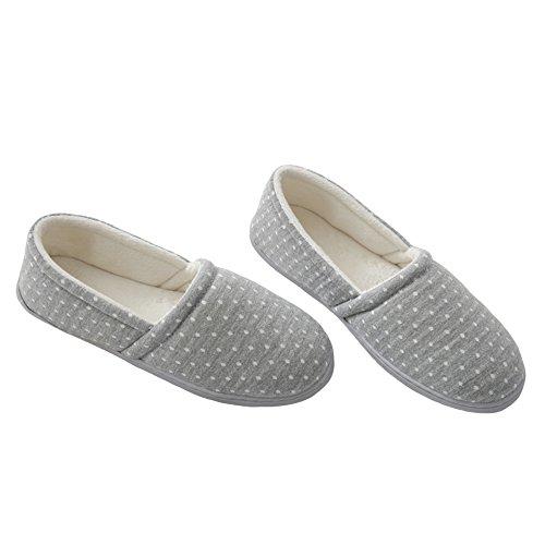 Bestfur Dames Katoenen Warme Comfortabele Ademende Pantoffels Grijs