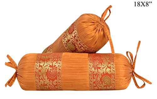 Lalhaveli Silk Bolster Pillow Covers Decorative 18 x 8 (Silk Decorative Bolster)
