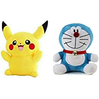 Nihan Enterprises Popo Doraemon-24Cm and Pikachu - 28 cm (Blue, Yellow, Multicolor) - 34 Mm  (Blue, Yellow)