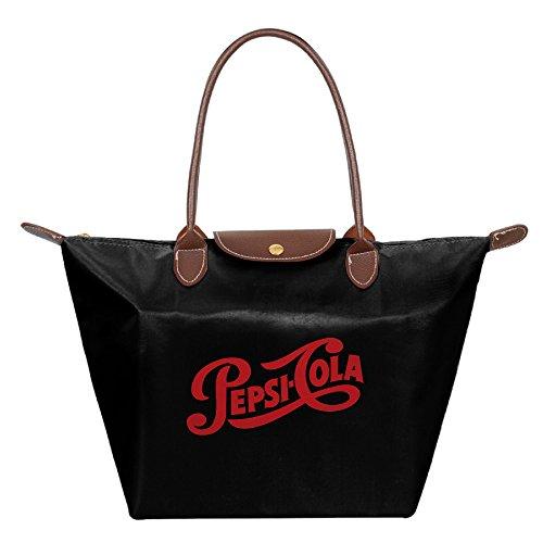 pepsi-cola-logo-1940-foldable-shopping-bags-large-tote-handbags-black