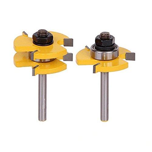 WElinks 2 Pcs/set 3 Teeth T-shape Tongue  Groove Router Bit Set, 3/4 Stock 1/4 Shank Wood Milling Cutter,Hardened Steel Woodworking Tool