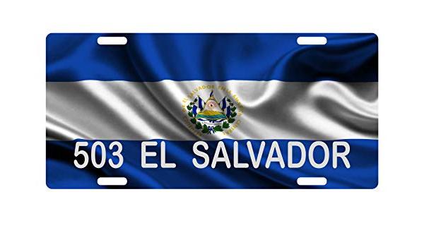 El Salvador Flag Wave License Plate Personalized Car Bike Motorcycle