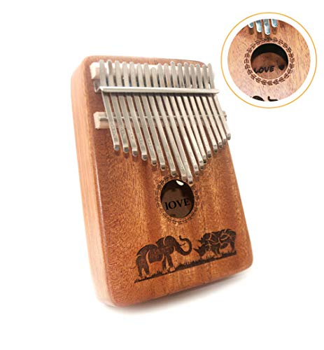 TRSCIND Kalimba 17 Key Thumb Piano, Finger Piano Mbira 17 Tone Musical instrument with Tune-Hammer and Study Guide, Unique & Funny Gift Birthday Gift Idea for Him Her or Musician Composer