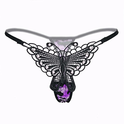 - Thong, Lace Butterfly Sexy Panties Lingerie Underwear Low Waist Briefs for Women (Purple)