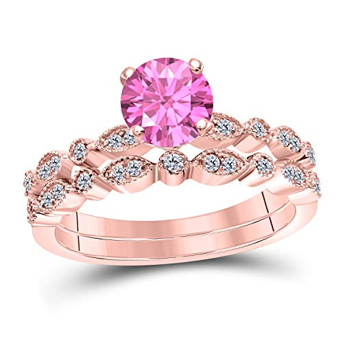 (Art Deco Style 1.00 Ct Lab Created Pink Sapphire Round Shape Engagement Ring Set 14K Rose Gold Over Sterling Silver Bridal Ring Set for Women's Jewelry)