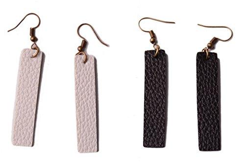 Faux Leather Pendant - L&N Rainbery 2 Pairs Bar Leather Earrings Antique Looking Long Pendant Faux Leather Bohemia Dangle Drop Earrings (White+Black)