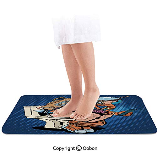 Astronaut Bath Mat,Futuristic Thinking Man with Smartphone on Toilet Wasting Time Playing Decorative,Plush Bathroom Decor Mat with Non Slip Backing,32 X 20 Inches,Dark Blue Multicolor