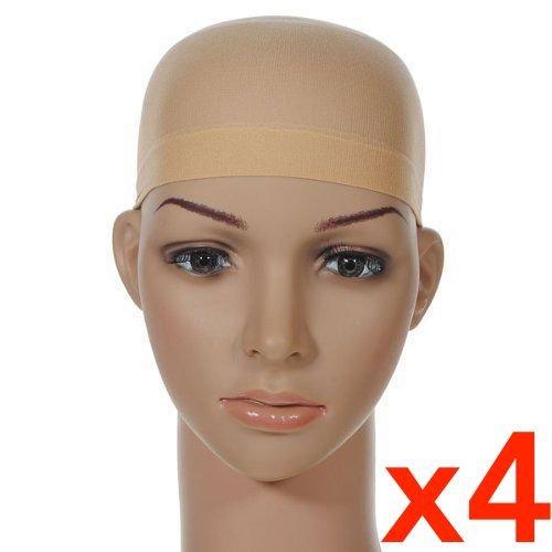 Beige Stock - 4 Pcs Unisex Stock Mesh Wig Cap Hat Nylon Stretch Elastic Snood - Neutral Nude Beige (4Pcs Mesh Wig Cap Beige)