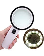Nomiou Magnifying Glass Lamp,5X Magnifier LED Light with Clip and Flexible Neck,Magnifying Lamp USB Powered,Perfect for Reading,Hobbies,Task Crafts or Workbench