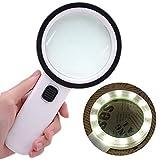 Lnicesky Furniture LED Light 30X High Power Handheld Magnifying Glass Led Light Jumbo Illuminated Magnifier White