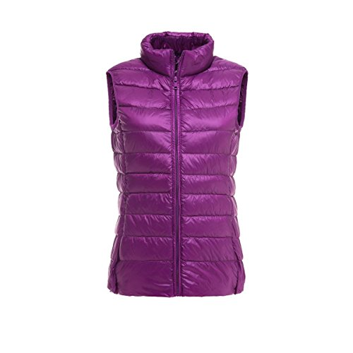 Femenino Delgado Abajo Chaleco Purple