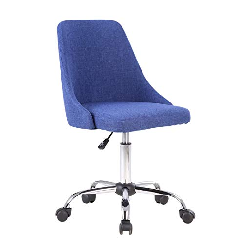 Porthos Home EFC023A BLU Roache Task Chair with Adjustable Height, 360° Swivel and 5-Claw Metal Base with Roller Caster Wheels (Hemp Fabric Upholstery, for Home and Office Uses), One Size, Blue