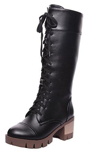 Puntera Alta Botas Cordones Redonda AgeeMi Negro Sólido Mujeres Caña Tacón Medio Shoes Xzpq4
