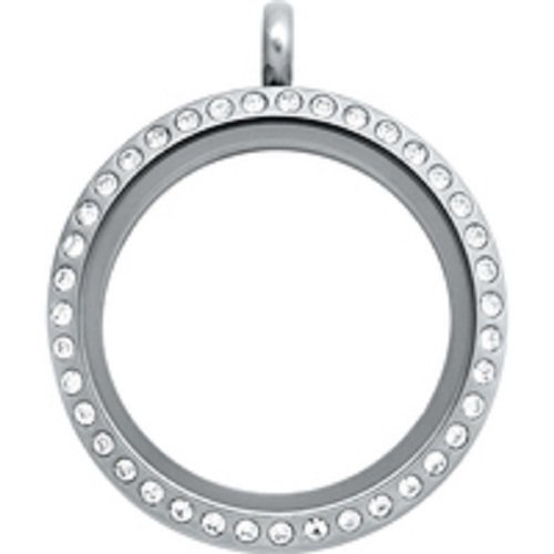 Silver Floating Glass Charm Locket Necklace Studded with CZ. Round