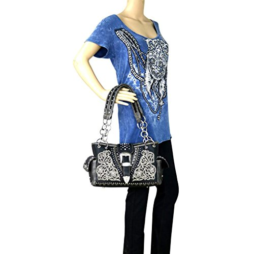 West Black Mujer 8085 Applique Floral Montana Negro 2028 Mw 1dHwxqCqB