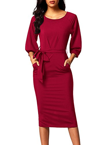 Bulawoo Womens Round Neck 3/4 Sleeve Puff Sleeve Belted Pencil Dress For Work With Pockets Large Size (Classic Womens Dress)