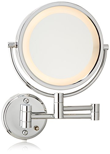 Jerdon HL75C 8.5-Inch Lighted Wall Mount Makeup Mirror with 8x Magnification, Chrome Finish by Jerdon