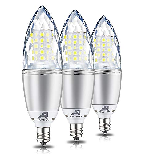 Rayhoo E12 Base LED Candelabra Light Bulbs Dimmable, 10 Watts Incandescent 80-100W Bulb Equivalent, Cool White 6000K, 3 Pack ()
