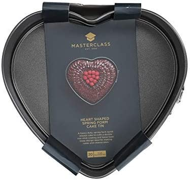 Class Heart Shaped Cake Tin 9 Inch Springform Cake Tin with Loose Base and Non Stick Coating 22.5 x 21.5 cm