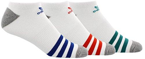 adidas Men's Originals No Show Socks (3-Pack), White, -
