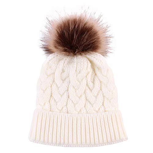 (Yinuoday Baby Knit Hat Cap Winter Warm Wool Infant Toddler Kids Crochet Beanie Cap New (White))