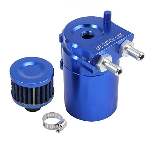 Justech Oil Catch Tank Cylinder Aluminum Engine Oil Catch Reservoir Breather Tank Can w/Filter Blue
