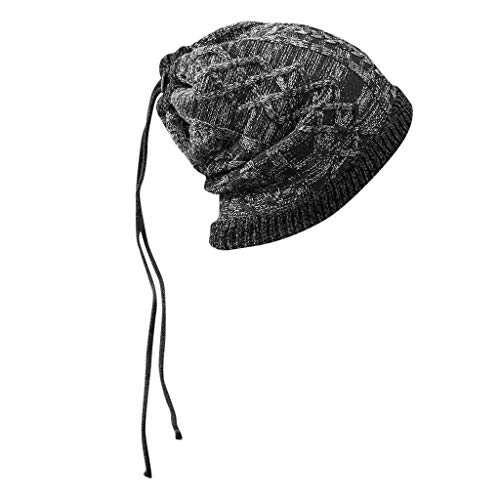 Men Baggy Knit Hat,Crytech Fashion Unisex Stretch Slouchy Wool Crochet Knitted Cable Beanie Cap Winter Warm Knitting Skull Snow Ski Hat for Men Outdoor Keep Warm (Black)