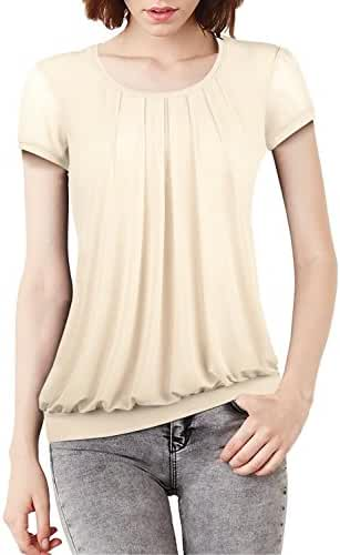 HyBrid & Company Womens Comfy Scoop Neck Pleated Front loose fit Blouse TOP