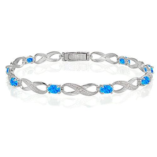 Ice Gems Sterling Silver Created Blue Opal Infinity Link Bracelet (Created Opal Bracelet)