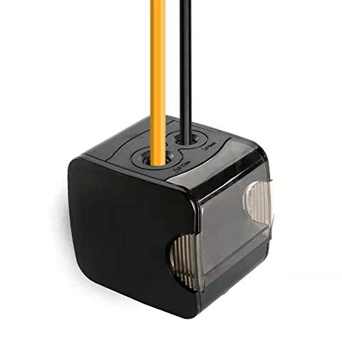 - Electric Pencil Sharpener, SENGKA Double Hole Rechargeable Automatic Pencil Sharpener, Battery or USB Powered for Kids, Artist, and Student(Black)